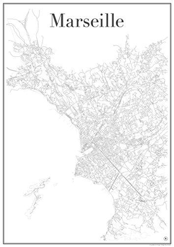 Póster de Marsella gridlines Marsella, mapa de la ciudad, cartel, impresión artística y de pared (en A1, 60 x 84 cm) de Marsella, Francia, moderno, atemporal, elegante, elegante