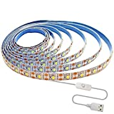 Tesfish Tiras LED USB 5V, Blanco 6000K 3M Tiras de luz LED 2835 IP65 Impermeable 180 LEDs, Tiras de luces LED Conecta y Reproduce...