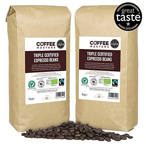 Koffie Meesters Driemaal Gecertificeerde, Organische, Fairtrade, Arabica Koffie Bonen (4x1kg) - GREAT TASTE WINNAAR 2018