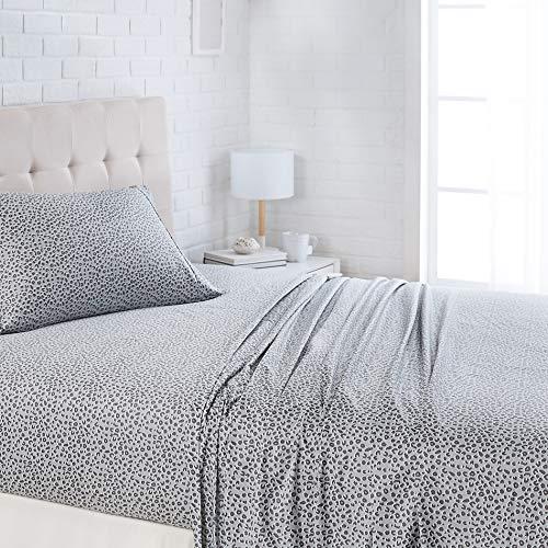 "AmazonBasics Lightweight Super Soft Easy Care Microfiber Bed Sheet Set with 16"" Deep Pockets - Twin, Grey Cheetah"