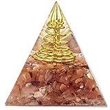 Generador de energía de cristal de pirámide orgone Reiki Gravel Stone Metal Points para Chakra Healing Yoga Meditación-Carambón