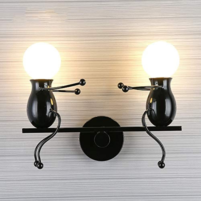 Elegent Mode Postmodern Kreative Wandleuchte Kinder Wandleuchte Nachttischlampe Kreative Lampe Flur Treppe Balkon Lampe Cozy (Farbe   schwarz)