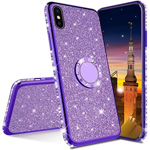 MRSTER Compatibile con iPhone 7 Plus Custodia Glitter Bling Scintillante Brillantini Custodia con Ring Kickstand Rotante a 360 Gradi Donna Cover per Apple iPhone 7 Plus / 8 Plus. Purple