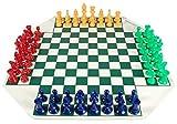LINMAN Juego de ajedrez de 4 vías Juegos de Juegos de ajedrez de 4 Jugadores Conjunto de ajedrez Medievales con 64 Piezas de ajedrez de ajedrez del Tablero de ajedrez 64 Juego de Viaje de 97 mm