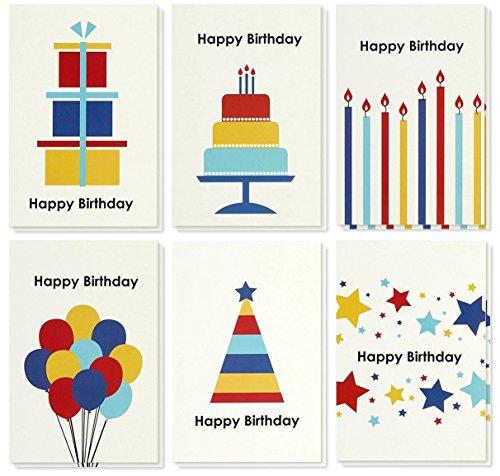 Beste Papier Groeten Regenboog Vormen Verjaardag Note Kaarten Wenskaarten - 6 Verschillende Ontwerpen met Ballonnen, Kaarsen, Taart, Enveloppen Inbegrepen - 48 Pack