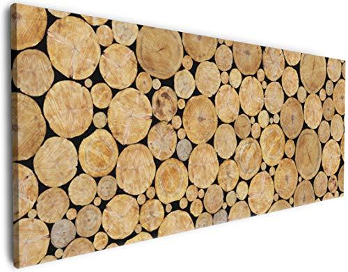 Wallario XXXL Riesen- Leinwandbild Holzstapel rund - 80 x 200 cm Brillante lichtechte Farben, hochauflösend, verzugsfrei