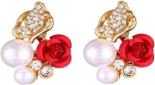 🧚♀ Latest Model 1 Pair Red Rose Flower Diamond Butterfly Stud Earrings Imitation Pearl Plated Crystal Stud Earring