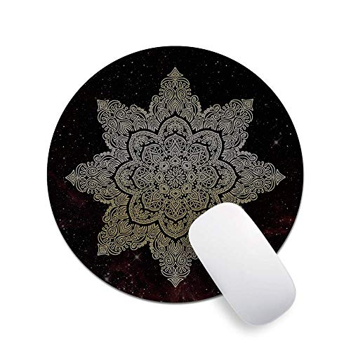 Pricetail Mouse Pad, Pretty Mouse Pads with Design, Starry Mandala Round Mouse Pad, Premium-Textured Non-Slip Rubber Base Mouse Pads, Waterproof Mousepads, for PC Computers, 7.9 x 7.9 x 0.1 Inch