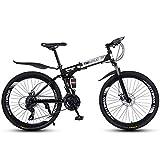 ZHTY Bicicleta de montaña de 26'y 21 velocidades para Adultos, Cuadro de suspensión Completa de Aluminio Ligero, Horquilla de suspensión, Freno de Disco, Negro, Bicicleta de montaña B