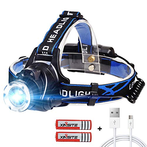 Stirnlampe LED USB Wiederaufladbare Kopflampe mit Sensor Wasserdicht Zoombar Stirnlampe für Laufen Jogging Angeln Reparieren mit 2 Stück 18650 Akkus