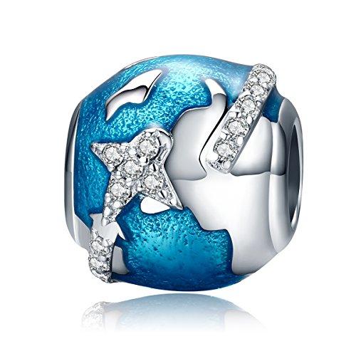 Abalorio con diseño de viajar alrededor del mundo, de plata de ley...