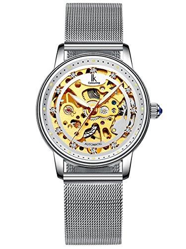 Alienwork Damen mechanische Automatik-Uhr Silber mit Metall Mesh Armband Edelstahl Weiss Skelett