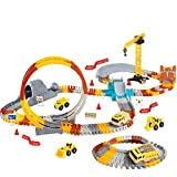 VEARMOAD Race Car Track Toy 225 Pieces, Flexible Train Tracks Toy Set for Boys, Track Toy with 2 Cars, Construction Track Toys for Kids