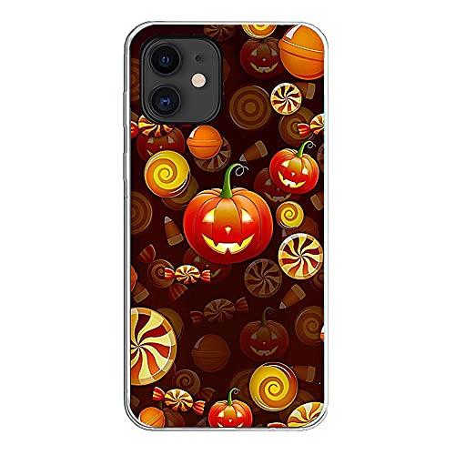 Cover per Halloween compatibile con iPhone Custodia trasparente morbida trasparente sottile con zucca fantasia in silicone TPU trasparente antiurto antiurto (iPhone 7 Plus/8 Plus, 10)