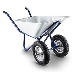 Waldbeck Heavyload - Gartenkarre, Schubkarre, 120 L Volumen, 320 kg max. Zuladung, 2-rädrige Vorderachse, 4.00 Luftgummireifen, Gummigriffe, blau-silber