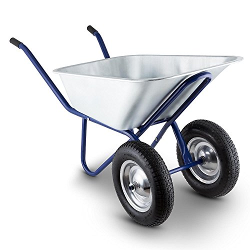 Waldbeck Heavyload Wheelbarrow Garden Cart 2-Wheel Zinc-Plated Steel...