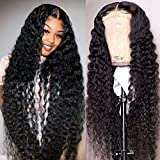 Maxine Glueless Wigs Curly Wave Lace Front Wigs Long Deep Wave Wigs for Black Women Unprocessed Virgin Human Hair with Baby Hair 4x4 Lace Closure Wigs 150% Density(30 Inch)