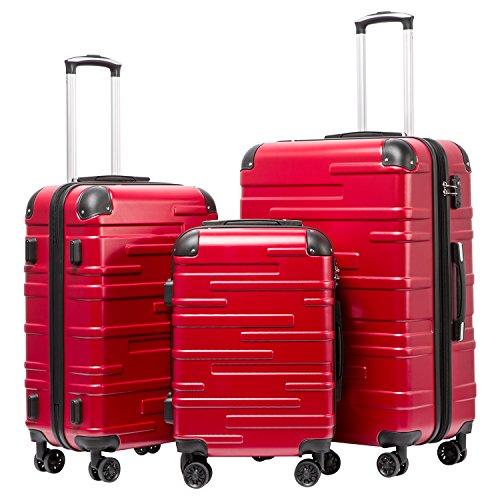 COOLIFE Hartschalen-Koffer Rollkoffer Reisekoffer Vergrößerbares Gepäck (Nur Großer Koffer Erweiterbar) ABS Material mit TSA-Schloss und 4 Rollen(Rot, Koffer-Set)