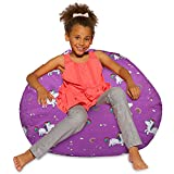Posh Creations Bean Bag Chair for Kids, Teens, and Adults Includes Removable and Machine Washable Cover, 38in - Large, Canvas Unicorn and Rainbows on Purple