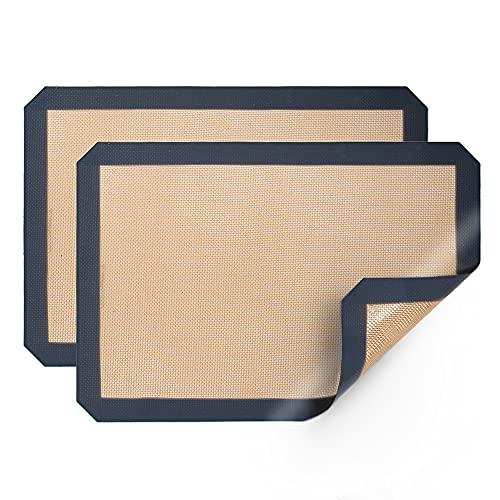 Aisto Silicone Baking Mats Non Stick Food Safe Reusable Baking Sheet Easy to Clean 16.5' x 11.6' 2 Pack Gray