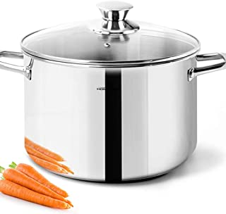 HOMICHEF 6 Quart Stock Pot With Glass Lid - Nickel Free Stainless Steel 6 Qt Pot With Handle - Mirror Polished Stock Pot 6 Quart - Induction Pot Cooking Pot With Lid - Healthy Cookware Stock Pot Set