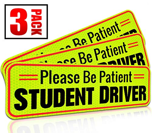 Student Driver Magnet Car Signs for The Novice or Beginner. Better Than A Decal or Bumper Sticker (Reusable) Reflective Magnetic Large Bold Visible Text (10 Be Patient Reflective)