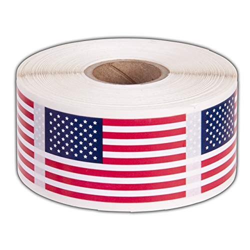"""American Flag Stickers USA Flags - 500 Per Roll - 1.25"""" X 2.125"""" Patriotic Labels by Kenco (1 Pack)"""