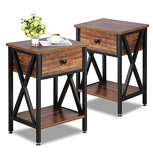 VECELO Modern Versatile X-Design Side End Table Nightstand Storage Shelf with Drawer for Living Room Bedroom, Set of 2 (Brown), Endtable 2 Set