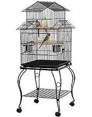 Yaheetech vogelkooi met staander vogelvolière 59 x 59 x 139,5 cm kooi vogelhuis ideaal in 3 vormen opbouwen