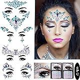 Piedras preciosas para la cara, para festivales, joyas con purpurina, cristales de...