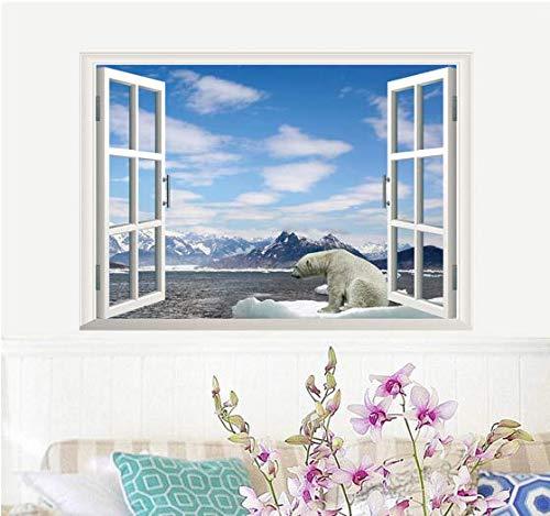 Polar Bear 3D Fake Window Wall Sticker For Kids Room Sofa Background Landscape Home Decor Art Poster Snow Mountain Mural Decals