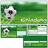 12er Set FUSSBALL EINLADUNGEN mit Umschlägen zum Geburtstag oder Fußball-Party - Einladungskarten für Jungen Mädchen Kindergeburtstag von BREITENWERK®