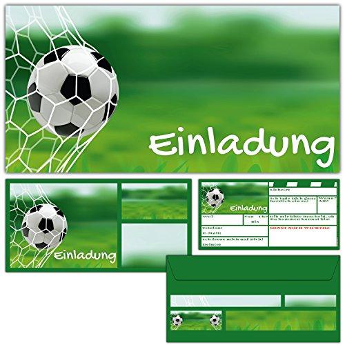 BREITENWERK 12er Set Fussball EINLADUNGEN mit Umschlägen zum Geburtstag oder Fußball-Party - Einladungskarten für Jungen Mädchen Kindergeburtstag