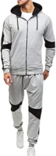 Mens 2 Piece Zipper up Sweatshirt Top Pants Sets Sport Suit Tracksuit