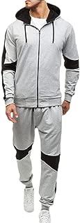 Mens 2 Piece Zipper up Sweatshirt Top Pants Sets Sport Suit Tracksuit