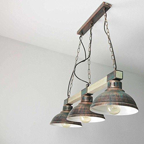 Gustosa lampada a sospensione in rame antichi colori legno vecchio stile vintage 3x E27 fino a 60 Watt 230V metallo e legno cucina pranzo sala da pranzo lampada a sospensione interno