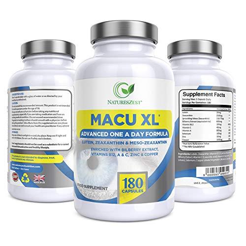 Macu XL Premium Eye Supplement, 180 Capsules with Lutein, Zeaxanthin, Meso-Zeaxanthin, Bilberry Extract, Vitamins A, B12 & Zinc, 6 Months' Supply - Vegan Friendly