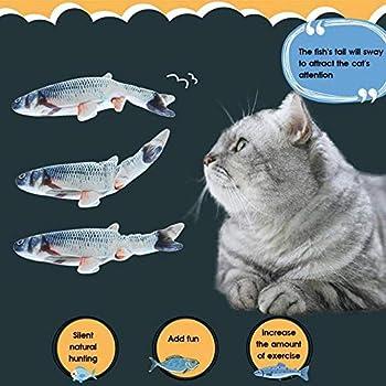 Queta Pet Chat électrique Poisson Simulation Poisson sautant Poisson en Peluche Jouet USB Jouet de Chat de Poisson en Peluche électrique USB avec cataire, Jouet de Chat interactif à Jouer (Carpe)