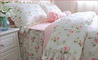 Juego de ropa de cama para cama de matrimonio, estilo shabby chic, modelo Cottage, 160 x 200 cm, funda nórdica/colcha de 200 x 230 cm, 2 unidades de 74 x 47 cm