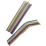 Battitachil Paja Acero Inoxidable de Paja Elegante Vida Reutilizable Metal Pajas Conjunto de 12 pajitas de Beber Pajita Portátil (Color : Set of 14, Size : 215x8)
