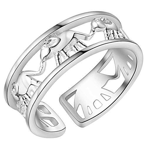 Versilbert Elefant Band Ring Größe 18/57 (DE) 8 (US) Einstellbar