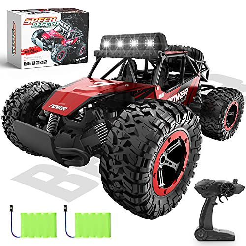 BEZGAR 17 Toy Grade 1:14 Scale Remote Control Car, 2WD High Speed 20 Km/h All Terrains Electric Toy Off Road RC Monster Vehicle Truck Crawler with Two Rechargeable Batteries for Boys Kids and Adults
