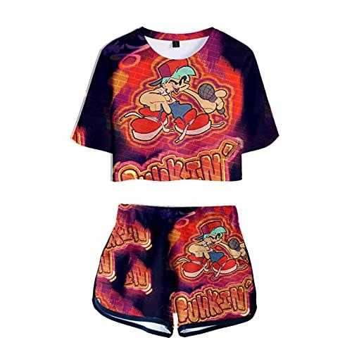 Juego Friday Night Funkin Tshirt Shorts Conjuntos 2 Piezas Mujeres 3D impresión Sexy Ropa de Verano niñas Mangas Cortas