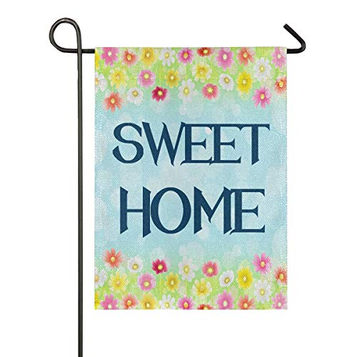 Garden Flags,Sweet Home Double Sided Flag Banner for Home Imitation Linen Indoor Outdoor Yard Decoration,Spring Summer Fall Winter Patio Lawn Flag Burlap(12x18 in)