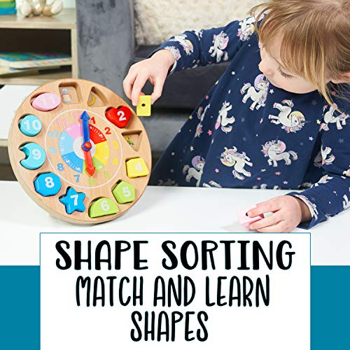 Jaques of London Teaching Clock | Montessori Shape Sorter | Tell The Time Clock | Wooden Shape Sorter Toys | Learning Clock | Since 1795
