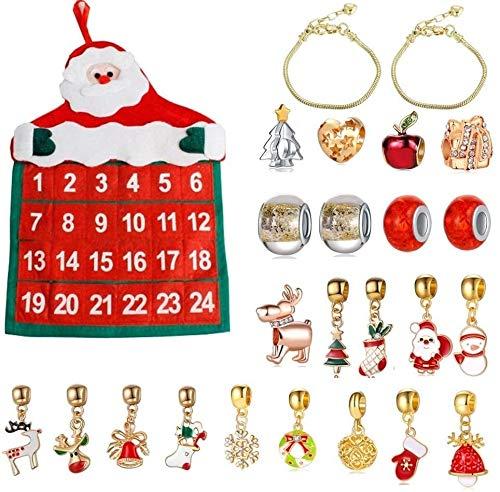 WLYX Weihnachts Adventskalender, Weihnachtsverzierung Geschenk Kalender Tasche Armband-Halskette der Korn-DIY Geschenk-Set Weihnachten Thanksgiving-Geschenk