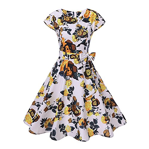 My Favorite Dresses Dress Summer Women Floral Cap Sleeve Belt Robe Rockabilly Party Dresses,XX-Large,Wq1032-00