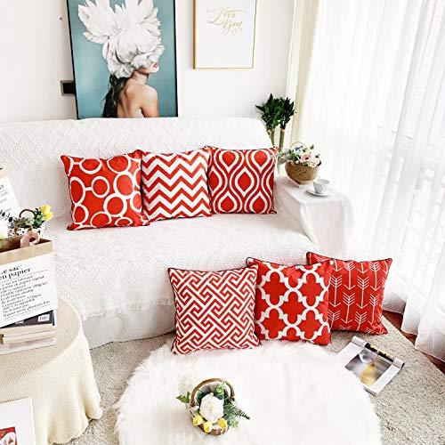 Alimama - Fundas de Almohada Decorativas de Lino y algodón, 45,7 x 45,7 cm, Color Rojo y Blanco con Ribetes Negros para decoración del hogar, Juego de 4 Fundas de cojín de 45 x 45 cm