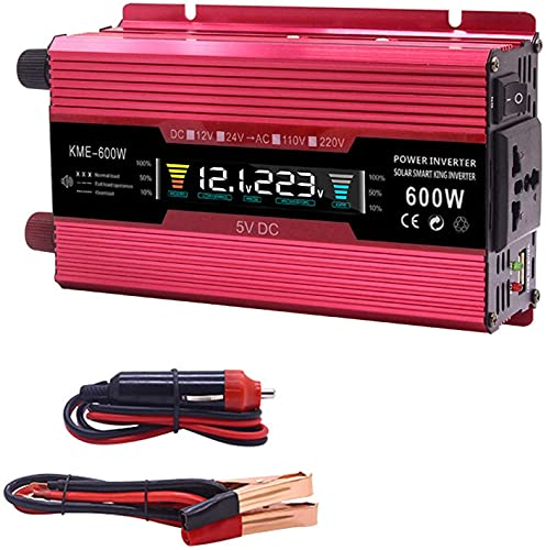 Wxnnx Inversor de Corriente para Coche 600/1200/2000 W Convertidor de Corriente DC 12/24 V a AC 110/220 V con Interruptor controlable y Puerto USB, Clip de batería de Coche,600w,12Vto220V