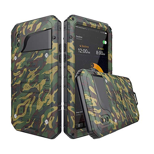 Beeasy Funda Antigolpes iPhone X, [Impermeable] Carcasa Resistente Waterproof Reforzada Metálica Grado Militar con Protector de Pantalla Incorporada a Prueba de Polvos Case para iPhone 10,Camu